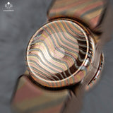23MM SAGE BUTTONS - 3 ALLOY MOKUME - ETCHED & POLISHED