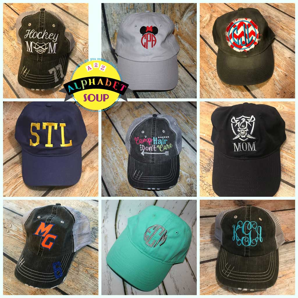 4325f7512f029 Embroidered Baseball Hats – Alphabet Soup Designs
