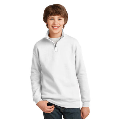 Personalized 1/4 Zip Fleece Hoodie - White