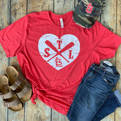 Distressed Heart Baseball Theme State Compass Vinyl Tee
