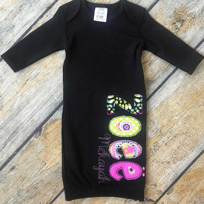 Black Infant Gown With Applique Name