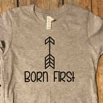 Sibling Born First Vinyl Design Shirt