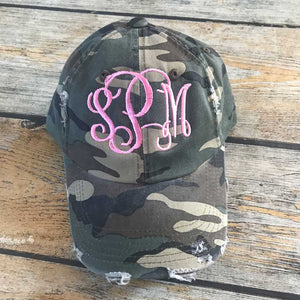 Camo Hat Pink Thread