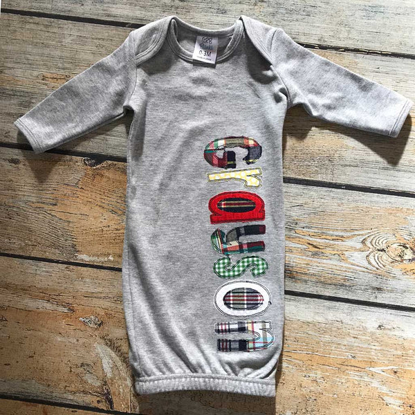 Grey Infant Gown With Applique Name