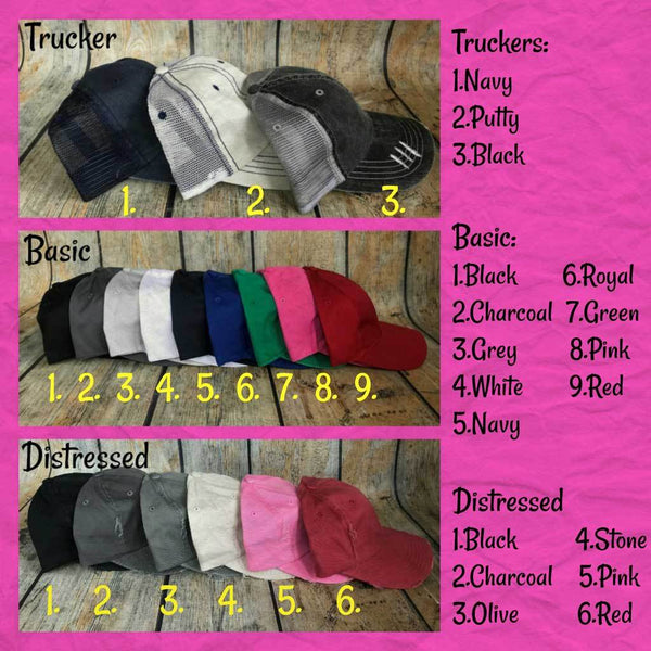Sample Hat Colors and Styles