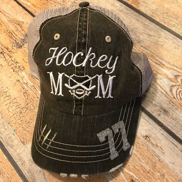 Hockey Mom Trucker Hat With Number on Bill