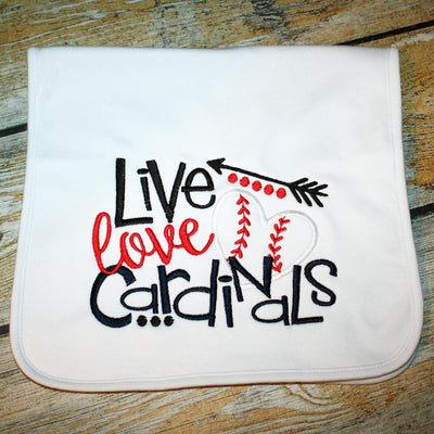 Live Love Cardinals Burp Cloth