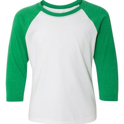 Personalized Youth Raglan Tee - White & Green