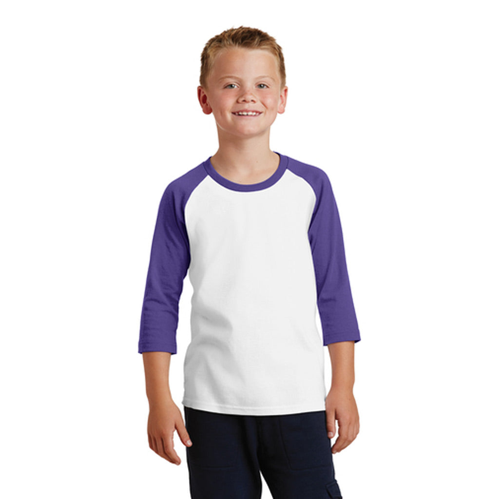 Personalized Youth Raglan Tee - White & Purple