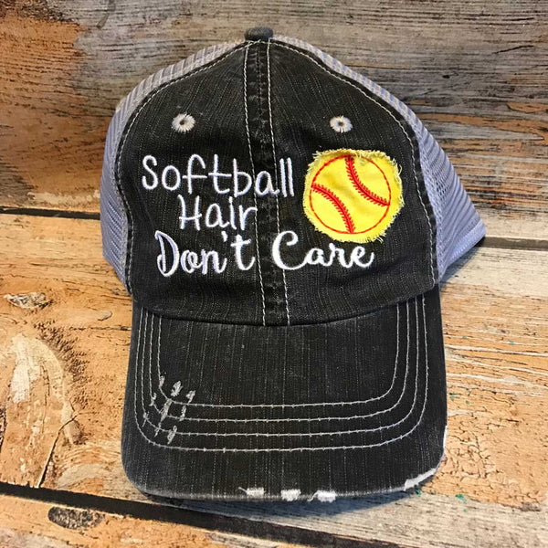 Softball Hair Don't Care Hat