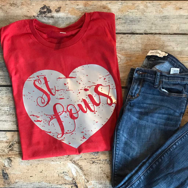 St. Louis Distressed Heart Vinyl Design Shirt