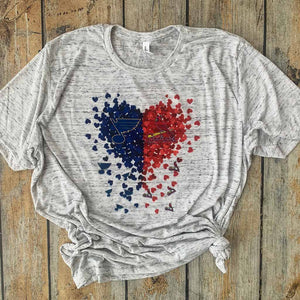 St. Louis Cardinals & Blues Confetti Heart Sublimated Design Tee