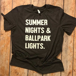 Summer Nights & Ballpark Lights Vinyl Design Shirts