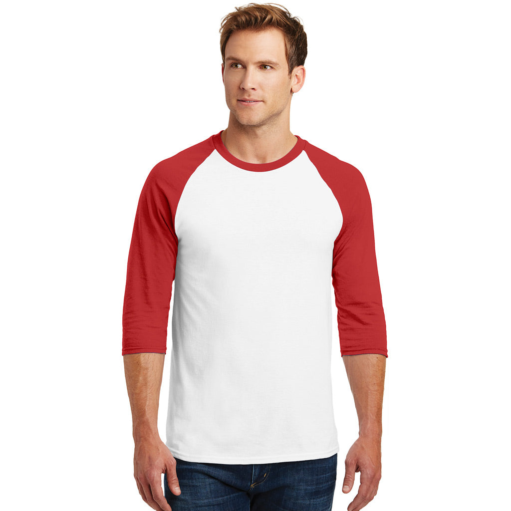 Personalized Raglan Unisex Tee - White & Red