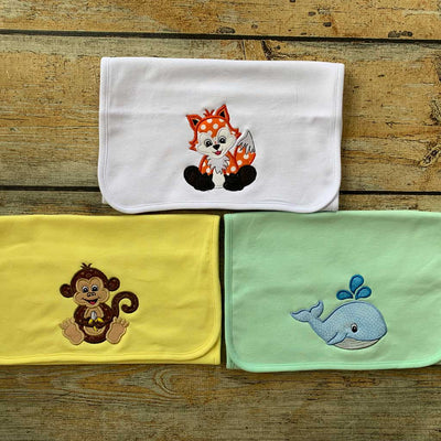 Burp Cloth with Animal Applique Design