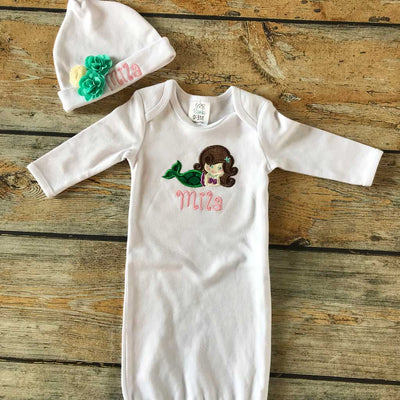 Applique Mermaid Infant Gown