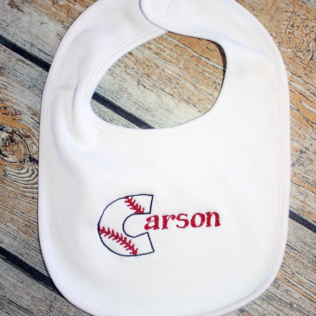 Embroidered Baseball Initial/Name Baby Bib