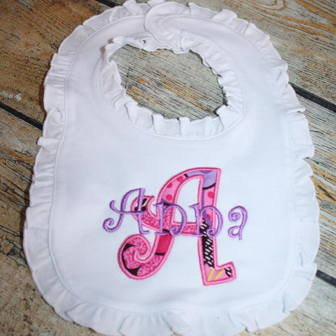Applique Letter Baby Bib