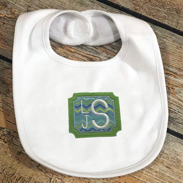 Applique with Embroidered Name/Monogram Baby Bib