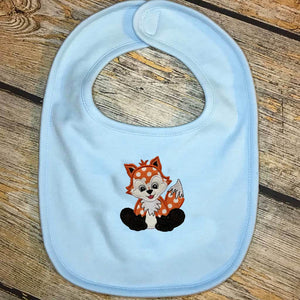 Applique Animal & Name Baby Bib