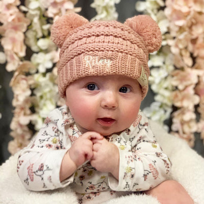 Embroidered Baby Double Pom Beanie