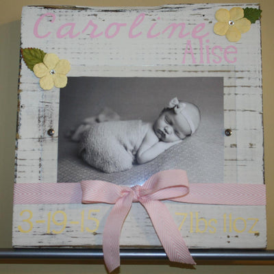 Baby Stats Frame with Pink