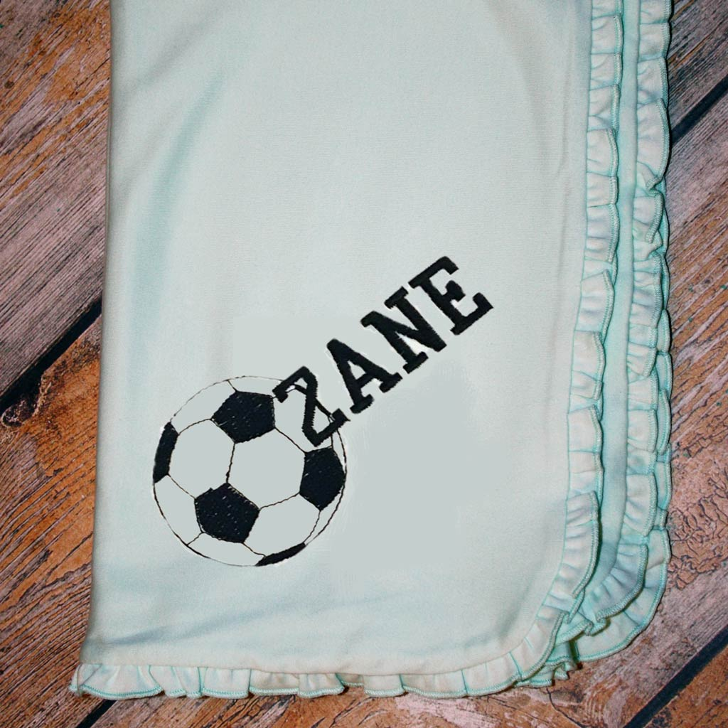 Embroidered Sports Ball and Name Baby Blanket