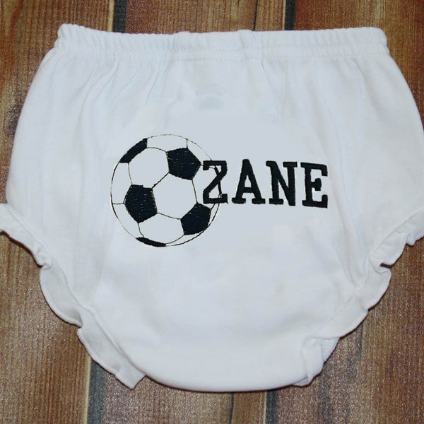 Embroidered Sports Ball & Name Ruffle Bloomers