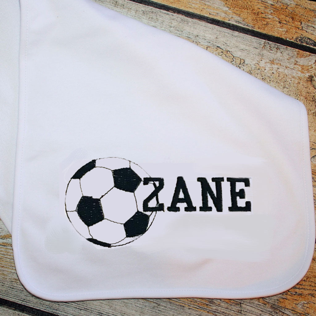 Burp Cloth with Embroidered Sports Ball and Name