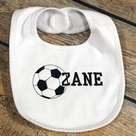 Embroidered Ball and Name Baby Bib