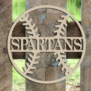 Wood Baseball with Name Wall Hanging