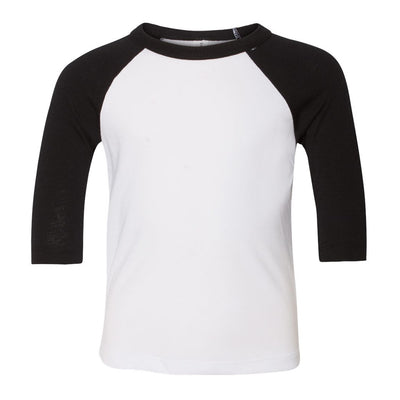 Personalized Toddler & Youth Raglan Tee - White & Black