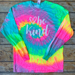 Be Kind Long Sleeve Tie-Dye Vinyl Design Shirt