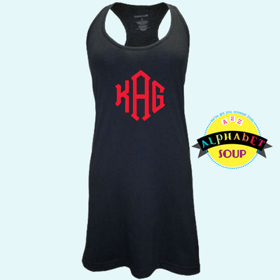 Black Coverup with Large Monogram
