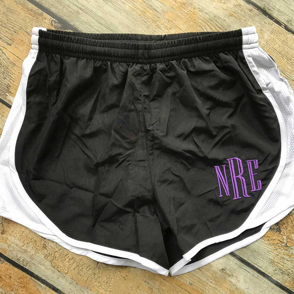 Embroidered Running Short in Black/White