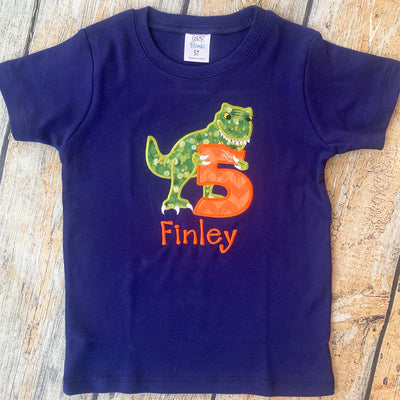 Children's Embroidered T-Rex Birthday Tee