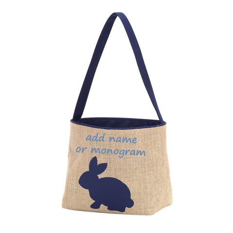 Embroidered Blue Bunny Burlap Easter Basket
