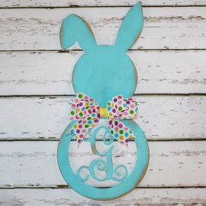 Wood Easter Bunny with Initial (finished in Light Blue)