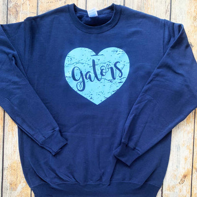 Distressed Vinyl Heart Crewneck Sweatshirt in Royal