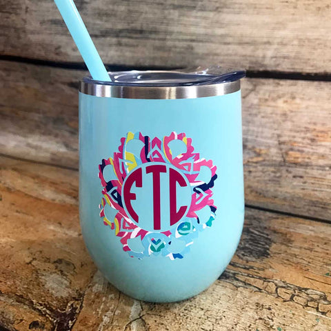 Aqua Tumbler with Monogram Border