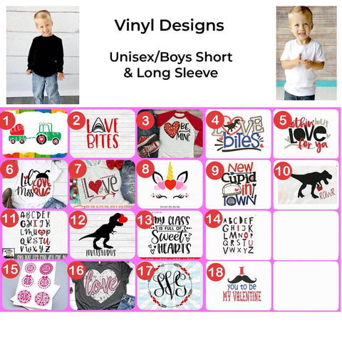 Boys/Unisex Valentine's Day Vinyl Design Shirts