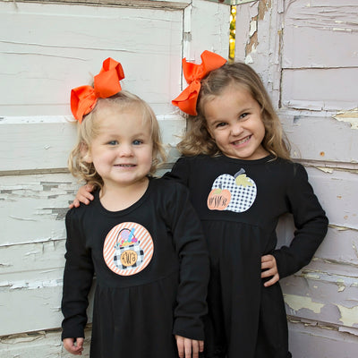 Girls Dresses with Buffalo Check Halloween Designs
