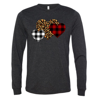 Leopard Print & Buffalo Plaid Heart Vinyl Design Shirt