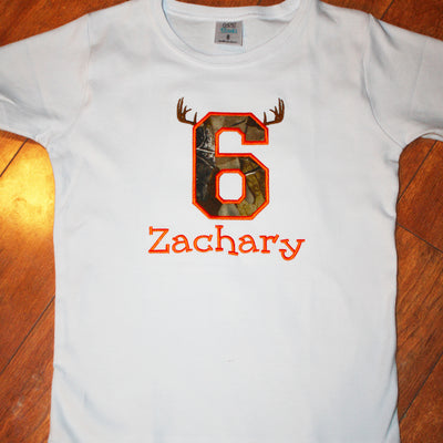 Embroidered Camo With Antlers Birthday Tee