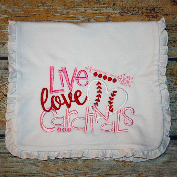 Live Love Cardinals Embroidered Burp Cloth