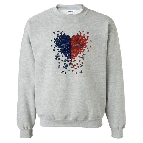 St. Louis Cardinals & Blues Confetti Heart Sublimated Crew Sweatshirt