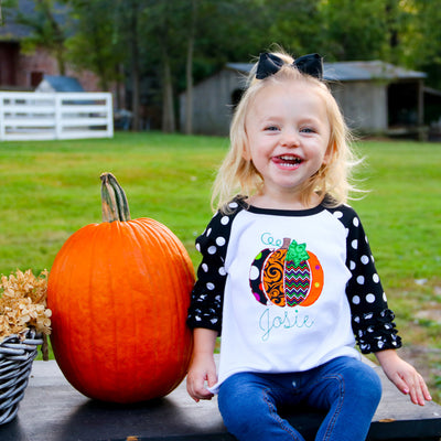 Embroidered Pumpkin Raglan Tee