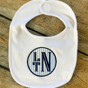 Applique Circle with Name/Monogram Baby Bib