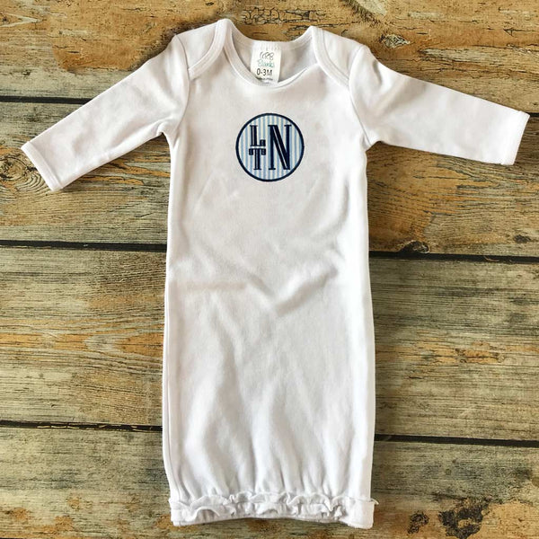 Applique Circle with Name/Monogram Infant Gown