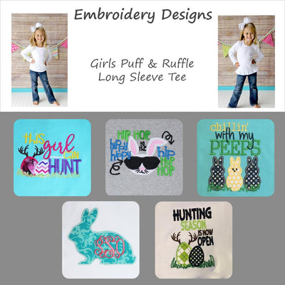 Embroidered Easter Designs - Girls Long Sleeve Tee